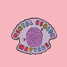 Saúde mental psicologia do cérebro esmalte broche pinos crachá lapela pinos broches liga metal moda jóias acessórios presentes