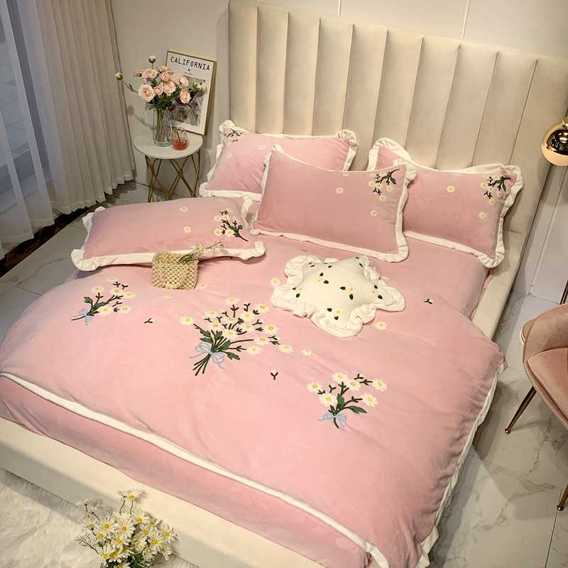 Флисовый теплый мягкий пододеяльник в стиле принцессы с цветочным рисунком, комплект постельного белья, размер королевы, 4 шт., розовый, зеленый, желтый, Комплект постельного белья для девочек