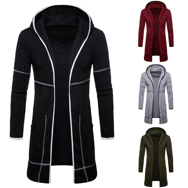 Laamei Men Sweatshirt Black Gown Hip Hop Mantle Hoodies Brand Fashion Autumn Streetwear Long Open Front Cloak Man's Coat Jacket