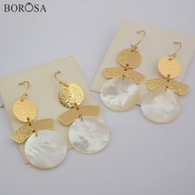BOROSA 5/10Pairs Gold Plating Copper Round White Shell Slice Drop Earring High Quality Mother of Pearl Jewelry G1860