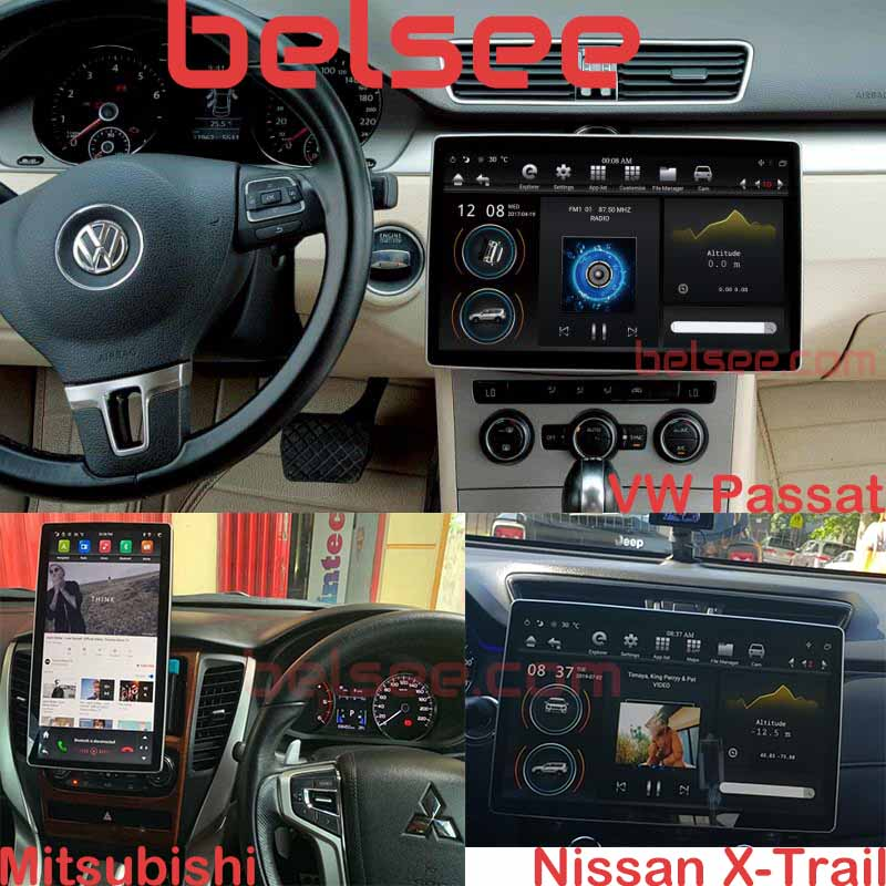 Belsee 12.8 inch Tesla Style Screen PX6 Android 8.1 Double 2 Din Universal Auto Head Unit Stereo Car Radio GPS Navigation System