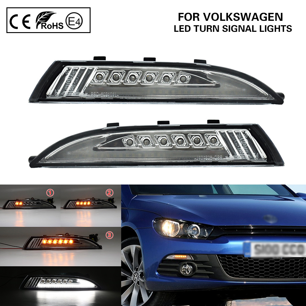 2*PCS <font><b>LED</b></font> Side Dynamic Marker Light Lamp turn signal light(Amber) <font><b>LED</b></font> position lights(White)Lightbar For VW Scirocco 2008-2013 image