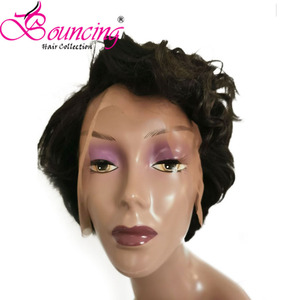 Image 5 - Bouncing Remy Hair 13*4 Lace Front Human Hair Wigs Pre plucked Natural Color 150% Pixie Short Cut Wig For Women Brazilian Hair