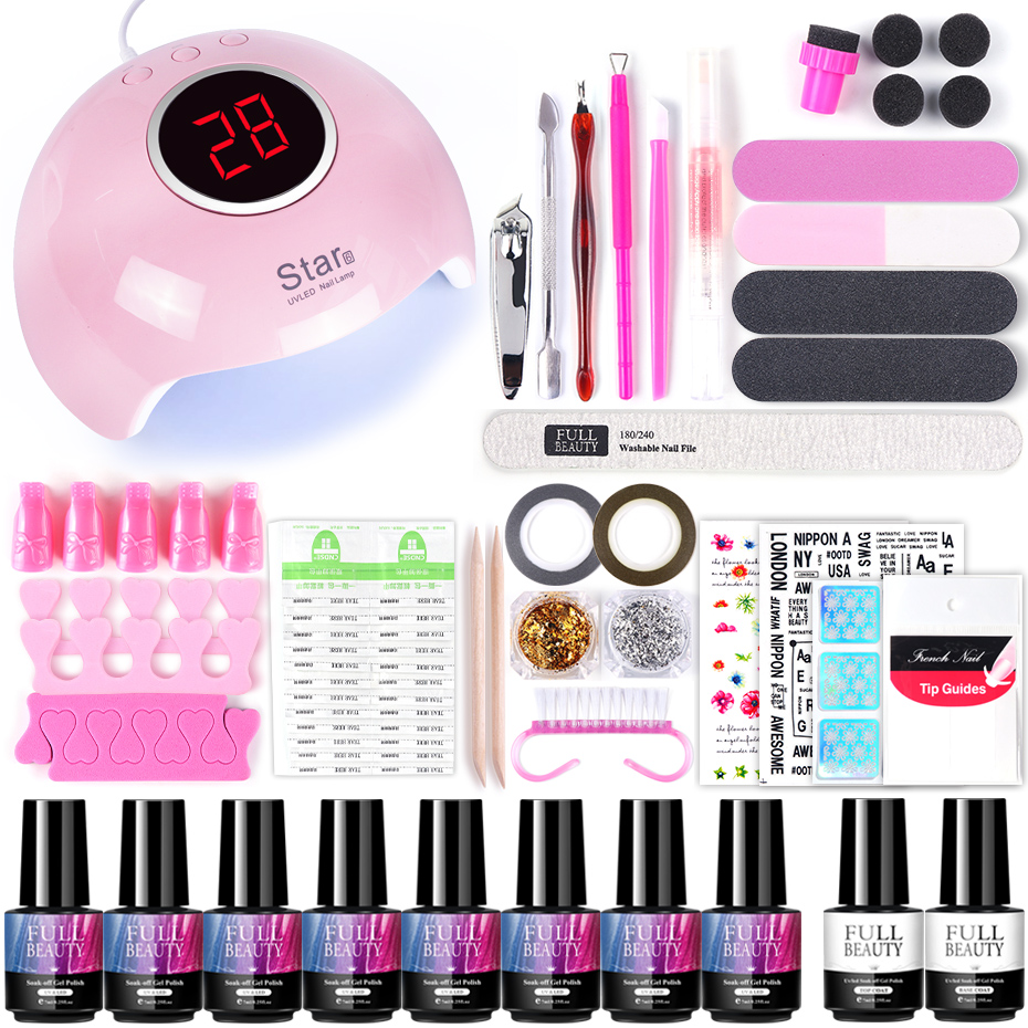 30W UV Led Lamp Set With Nail Gel Polish Varnish Soak Off Manicure Kit Cuticle Pusher Files Decorations Nail Art Tools TR1574