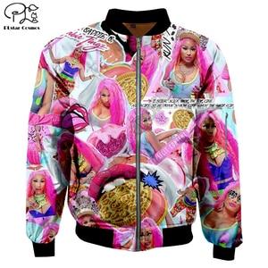 Homens 3d inverno bombardeiro jaquetas nicki minaj eua hip hop rapper impressão outono zíper galaxy jaqueta de vôo casual unisex harajuku casaco
