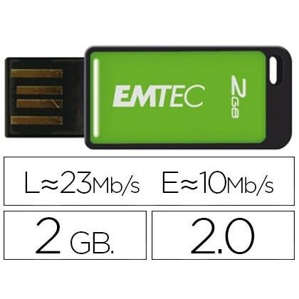 USB MEMORY EMTEC FLASH 2 hard GB 20 EM-DESK 23 MB/S GREEN