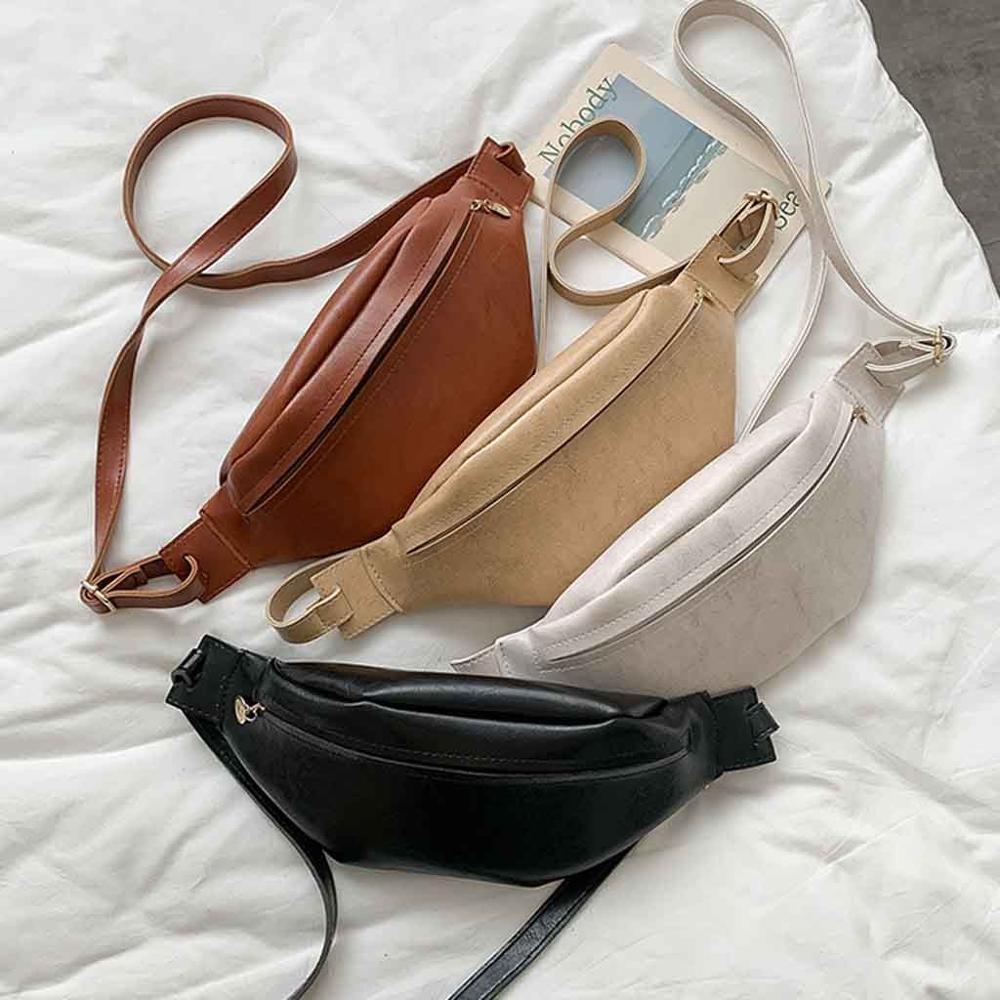 Simple Leather Waist Bag For Women Solid Color Zipper Waist Pack Phone Chest Bag Female Bum Belt Bags #20