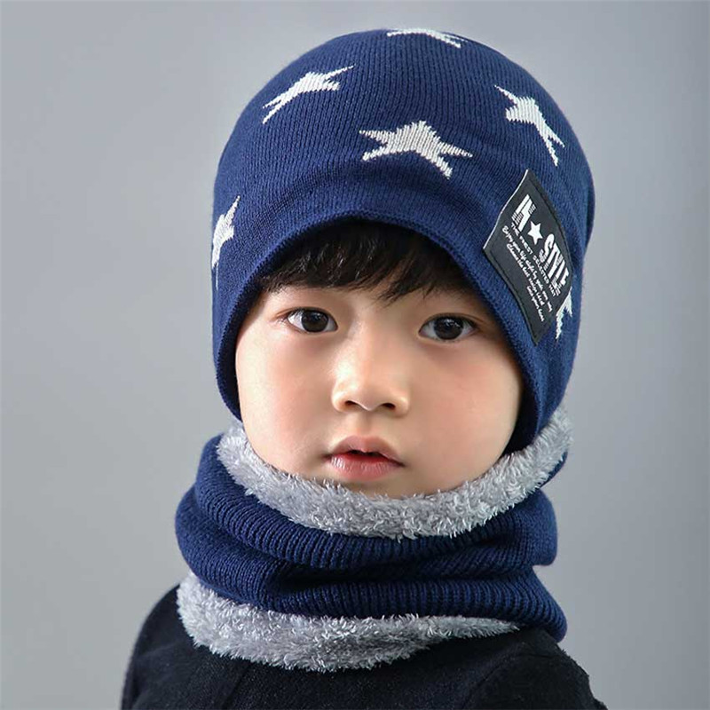 Child Winter Knit Hat And Scarf Set Boy Girls Warm Plush Hat 2 Piece Sets Kids Geometry Pattern Fashion Outdoor Ski Cap Scarves