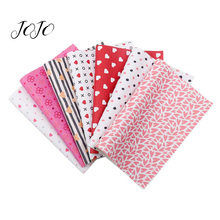 JOJO BOWS 22*30cm 1pc Faux Synthetic Leather Fabric Leaf Heart Love Printed Sheets Valentines Day Home Decoration DIY Hair Bows