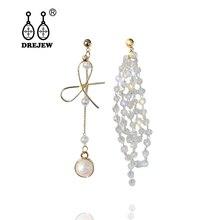 DREJEW Asymmetrical Pearl Butterfly Crystal Statement Earrings 2019 925 Tassel Drop for Women Wedding Jewelry HE0411