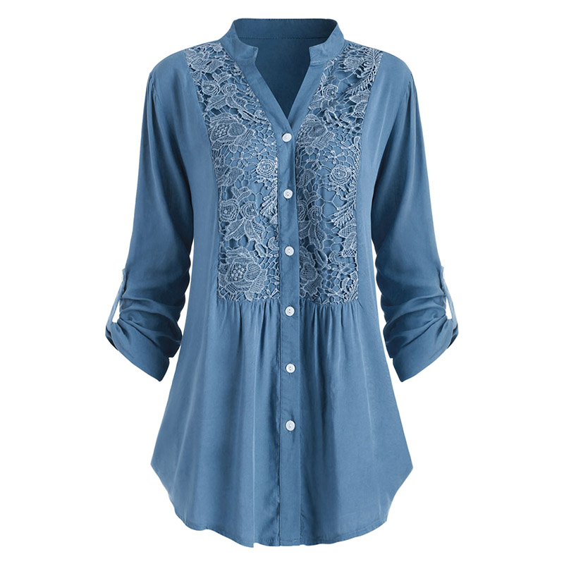 ROSEGAL Large Size Lace Crochet Roll Up Sleeve Shirt V-Neck Long Shirt Lace Women Solid Casual Blouse Official Ladies Long Tunic