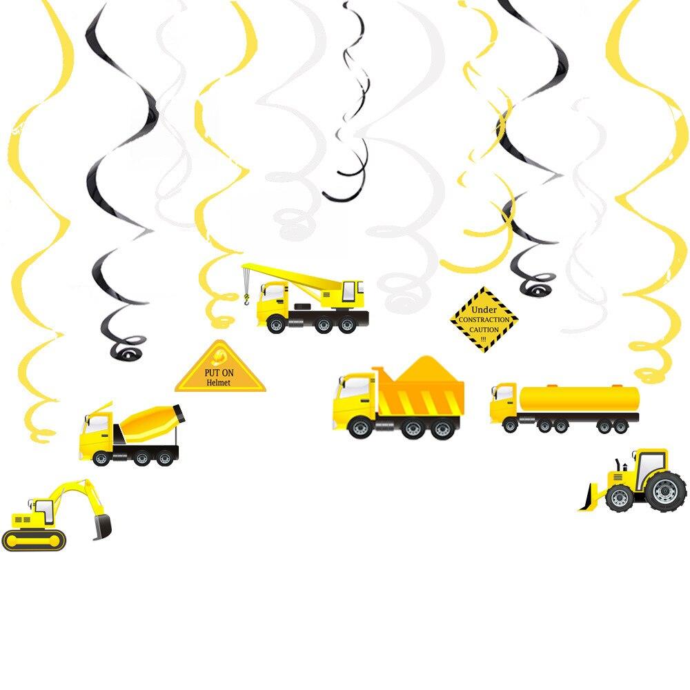 Строительный автомобиль, украшения для вечеринок, экскаватор, бульдозер, грузовик, подвесной завиток для детей, товары для вечерние
