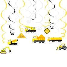 Veículo de construção decorações de festa escavadeira escavadeira caminhão espiral ornamentos pendurado girls redemoinho para crianças fontes de festa