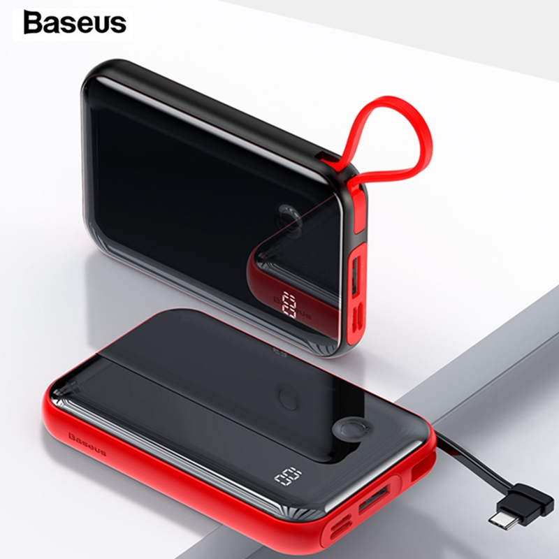 Baseus 10000mAh Power Bank Portable Charger Mini <font><b>10000</b></font> <font><b>mAh</b></font> Powerbank Small External <font><b>Battery</b></font> <font><b>Pack</b></font> Poverbank For Xiaomi Mi iPhone image