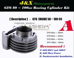 Image 3 - 139QMB 139QMA Nokkenas GY6 50 60 80 Upgrade Naar 50 Mm GY6 100cc Big Bore Kit Cilinder Zuiger Set Hoofd met 64 Mm Lange Valve