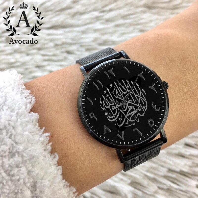 Relojes de marca de lujo de aguacate, Reloj de cuarzo árabe negro ...