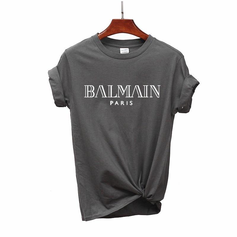 Camiseta para mujer de Summer Camiseta de algodón con estampado de letras y camisetas de marca de mujer con cuello redondo cami
