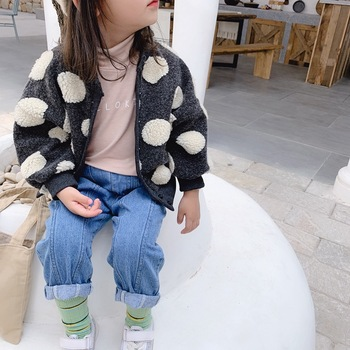 2019 Autumn New Arrival Korean style cotton fashion all-match loose dot pattern sweater coat for cute sweet baby girls and boys
