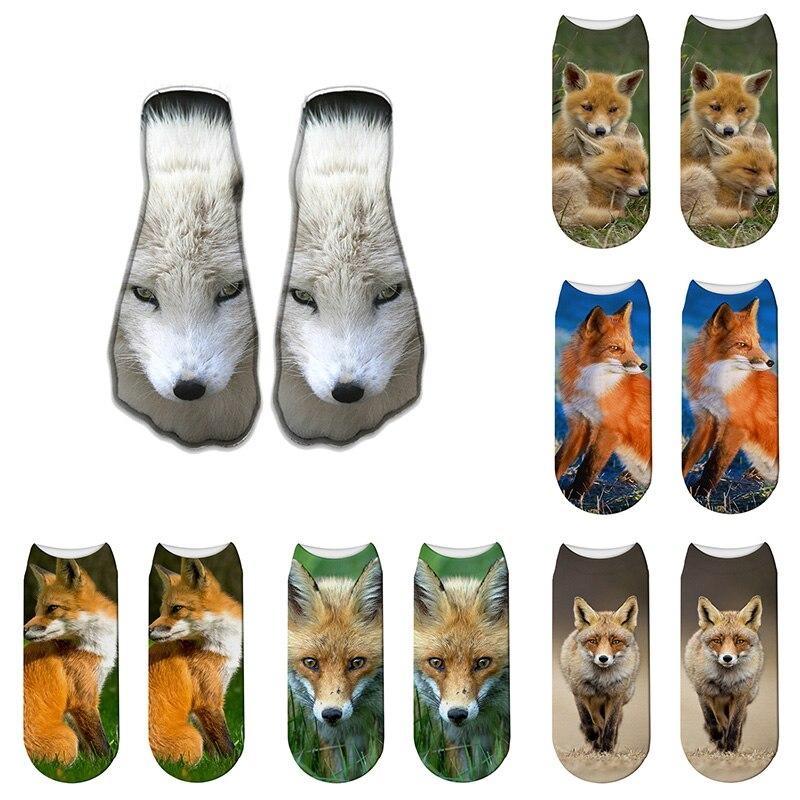 3D Lovely Fox Animal Printed Socks Men New Fashion Funny Unisex Cute Low Cut Summer Comfortable Novelty Ankle Socks