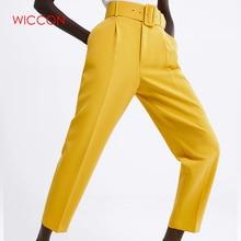 2020 Women Belted Suit Pants High Waist Causal Pink Yellow Harem