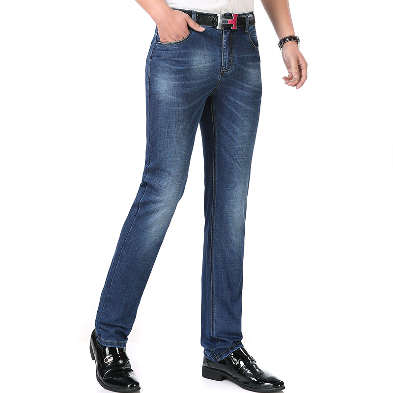 2019 Summer Jeans Men Slim Fit Straight-Leg Trousers Business Loose-Fit Middle-aged Casual Jeans