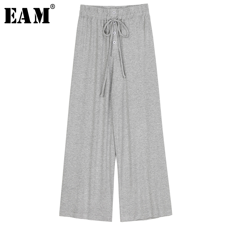 [EAM] High Elastic Waist Black Long Drawstring Wide Leg Trousers New Loose Fit Pants Women Fashion Tide Spring Summer 2020 1U469