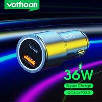 Vothoon 36W USB Auto Ladegerät Schnell Ladung 4,0 3,0 USB PD Schnelle Lade Auto Telefon Ladegerät Für iPhone 12 samsung Huawei Auto Ladegerät