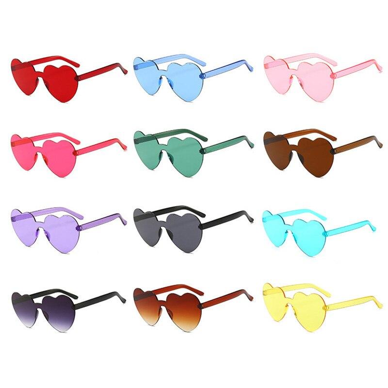 Rimless Heart Shape Sunglasses Women Fashion Ocean Candy Lens Shades Female Sun Glasses Girls Gafas De Sol UV400