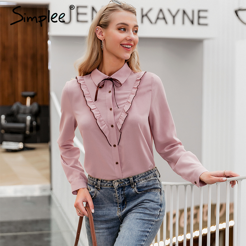 Simplee Sexy pink casual women blouse shirt Long sleeve neck tie elegant tops Office lady OL work wear party blouses tops