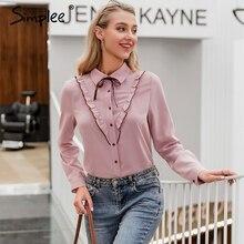 Simplee seksowna różowa casualowa bluzka damska z długim rękawem krawat eleganckie topy urząd lady odzież robocza OL party bluzki topy