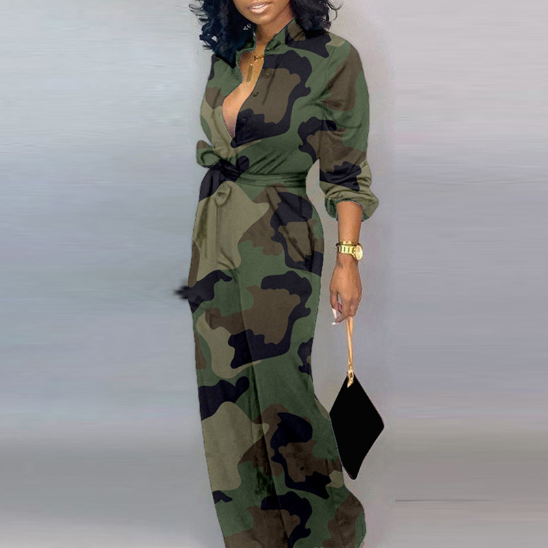 Women Jumpsuits Fashion Sexy V Neck Long Sleeve Leopard Letter Print Jumpsuit Camouflage Long Playsuits Overalls Elegant G1153