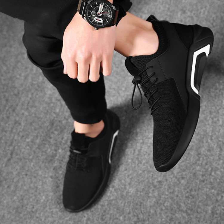 New Style Summer Breathable Sneakers Men's Korean-style Trend England Versatile Mesh Shoes Black And White With Pattern Sports F