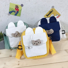 Korean women's bag cloth bag female bag small square bag beach bag student canvas shoulder bag messenger canvas bag female rope canvas print beach bag