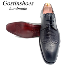 SALE 44 Goodyear Handmade Men Formal Business Shoes Men Dress Shoes Black Cow Leather Ostrich Skin Shoes Lace-up Pointed Toe goodyear handmade shoes men s formal wear business shoes leather men s shoes leather was settled