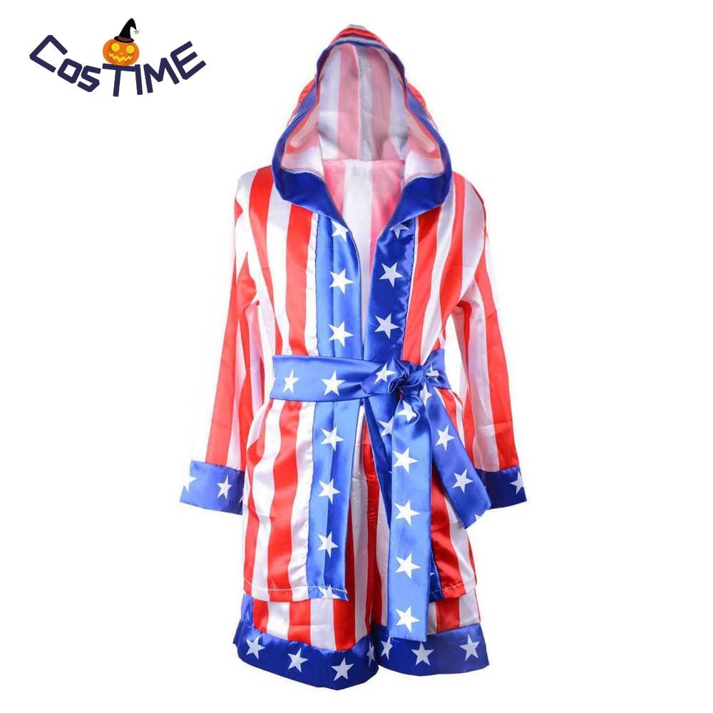 >Rocky Balboa Apollo Boxing Robe World <font><b>Champion</b></font> Costume Kids American Flag Boxing Costume <font><b>Outfit</b></font> Hooded Cloak Robe Belt Shorts