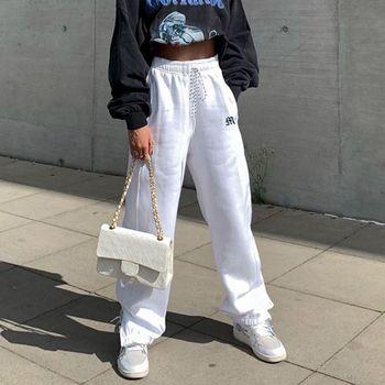 Sweatpants Women 2020 Autumn Embroidery Baggy Women Trousers Zipper Split Track Pants for Women Joggers Dropshipping 1