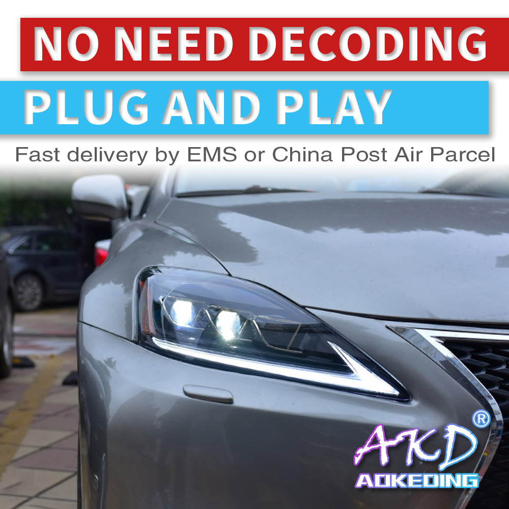 AKD tuning cars Headlight for <font><b>lexus</b></font> <font><b>IS</b></font> <font><b>250</b></font> IS300 is350 Headlights LED DRL Running lights Bi-Xenon Beam Fog lights full led image
