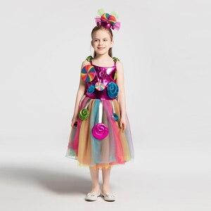 Image 3 - Радужный костюм для девочек на день рождения; Платье пачка с бантом и радужным леденцом; Платье для карнавала; Вечерние повязки на голову