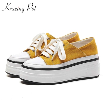 Krazing Pot new arrival cow leather canvas material lace up canvas waterproof sneaker round toe platform vulcanized shoes L26
