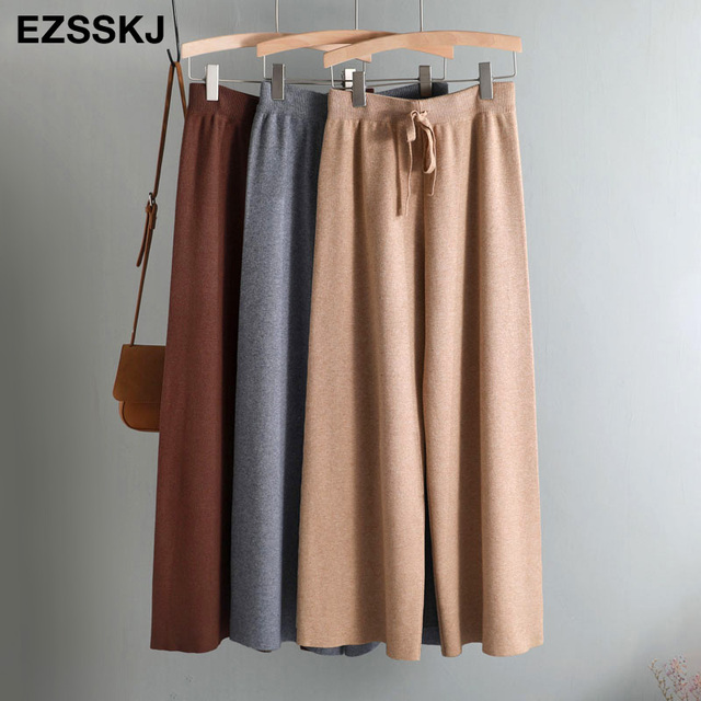 2019 autumn winter new THICK casual straight pants women female drawstring loose knitted wide leg pants casual Trousers 57