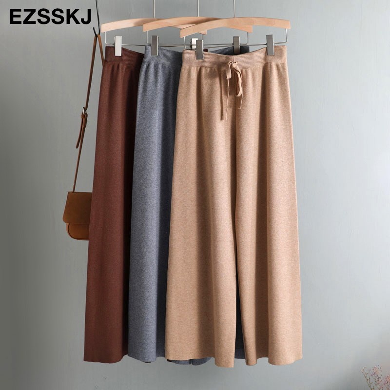 2020 jesienno zimowa nowe grube dorywczo proste spodnie damskie kobiece sznurkiem luźny, dzianinowy spodnie szerokie nogawki spodnie typu casualSpodnie i spodnie capri   -