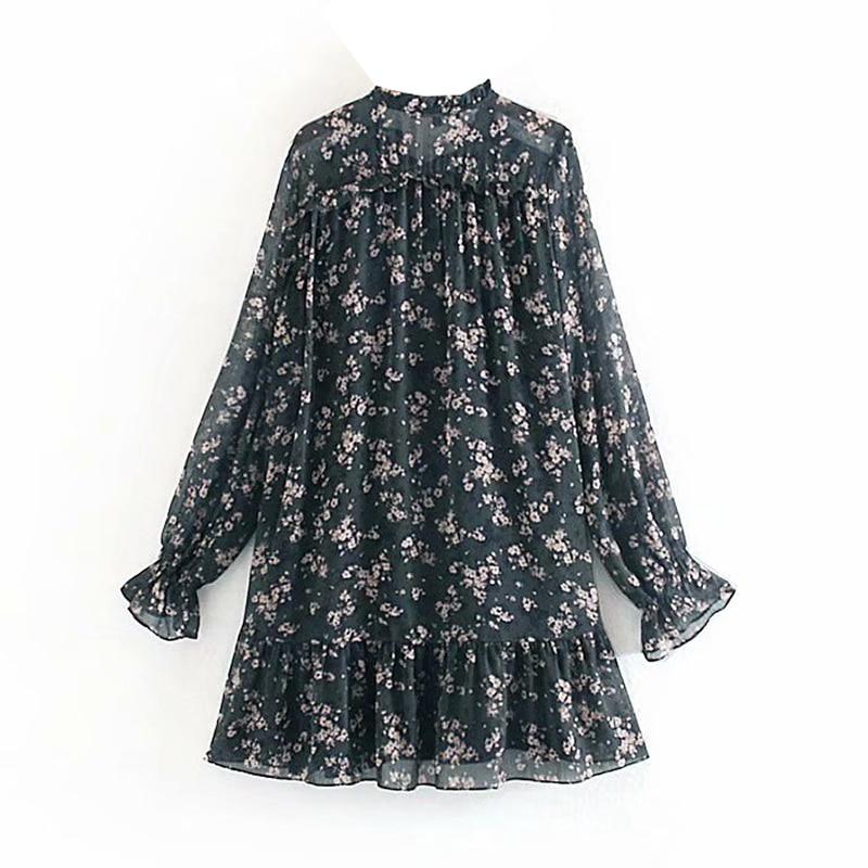 Women Ruffle Bow Tie Mini Floral Print Dress Vintage Long Sleeve Vestido Casual Loose Pleated Ladies Dress Ruffles Party Dresses 1