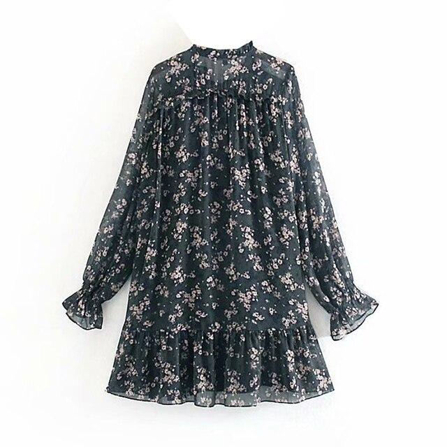Women Ruffle Bow Tie Mini Floral Print Dress Vintage Long Sleeve Casual Loose Pleated Dress Ruffles Party Dress  2