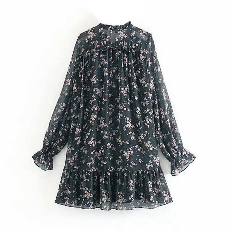 Aachoae Vrouwen Ruche Strikje Mini Bloemenprint Jurk Vintage Lange Mouwen Casual Losse Geplooide Jurk Ruches Party Dress Vestidos