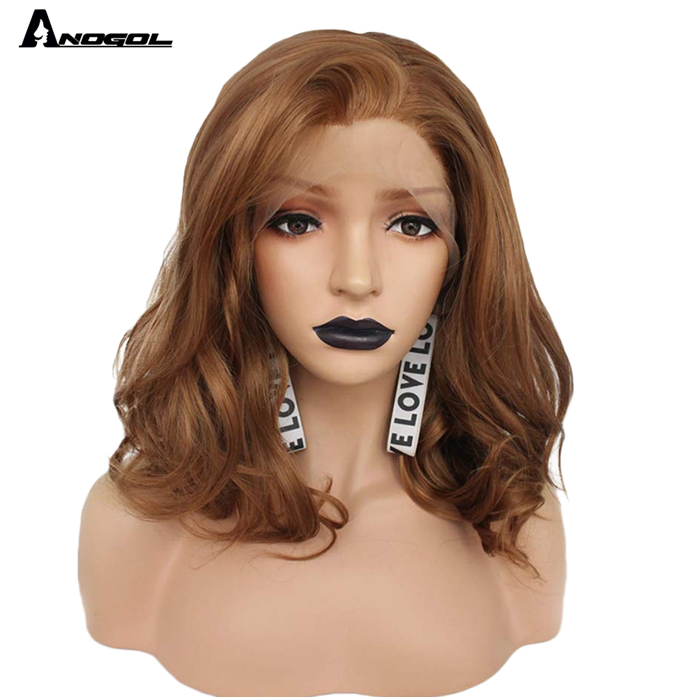 "Anogol Brown 12"" Glueless High Temperature Fiber Synthetic Lace Front Wig Natural Short Body Wave Bob Hair Wigs For White Women"