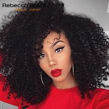 Jerry Curly Lace Front Human Hair Wigs With Baby Hair Brazilian Remy Hair Short Curly Bob Wigs For Women Pre-Plucked Wig Rebecca(China)