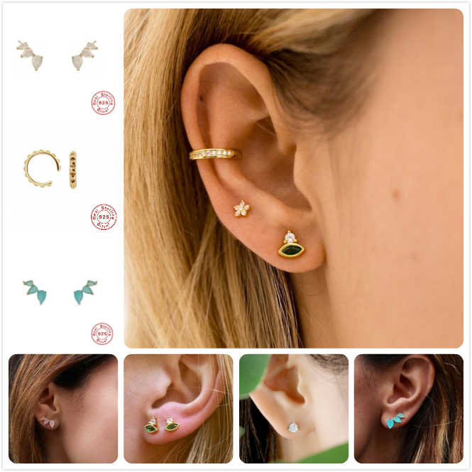 925 Sterling Silver Earrings For Women Anniversary Party Gift Crystal Earrings Girl Cubic Zirconia Ear Bone Piercing aretes R5
