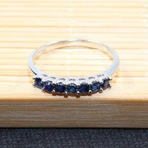 Image 2 - 100% الطبيعية الأزرق الداكن خاتم من الياقوت الأزرق للمرأة 7 قطعة 2.5 مللي متر SI الصف خاتم من الياقوت الأزرق الصلبة 925 الفضة خاتم من الياقوت الأزرق رومانسية هدية