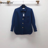 SPENNEOOY Designer Runway Female Navy Color Vintage Shirt Tops Women Pockets Button Elegant Long Sleeve Blouse 2020