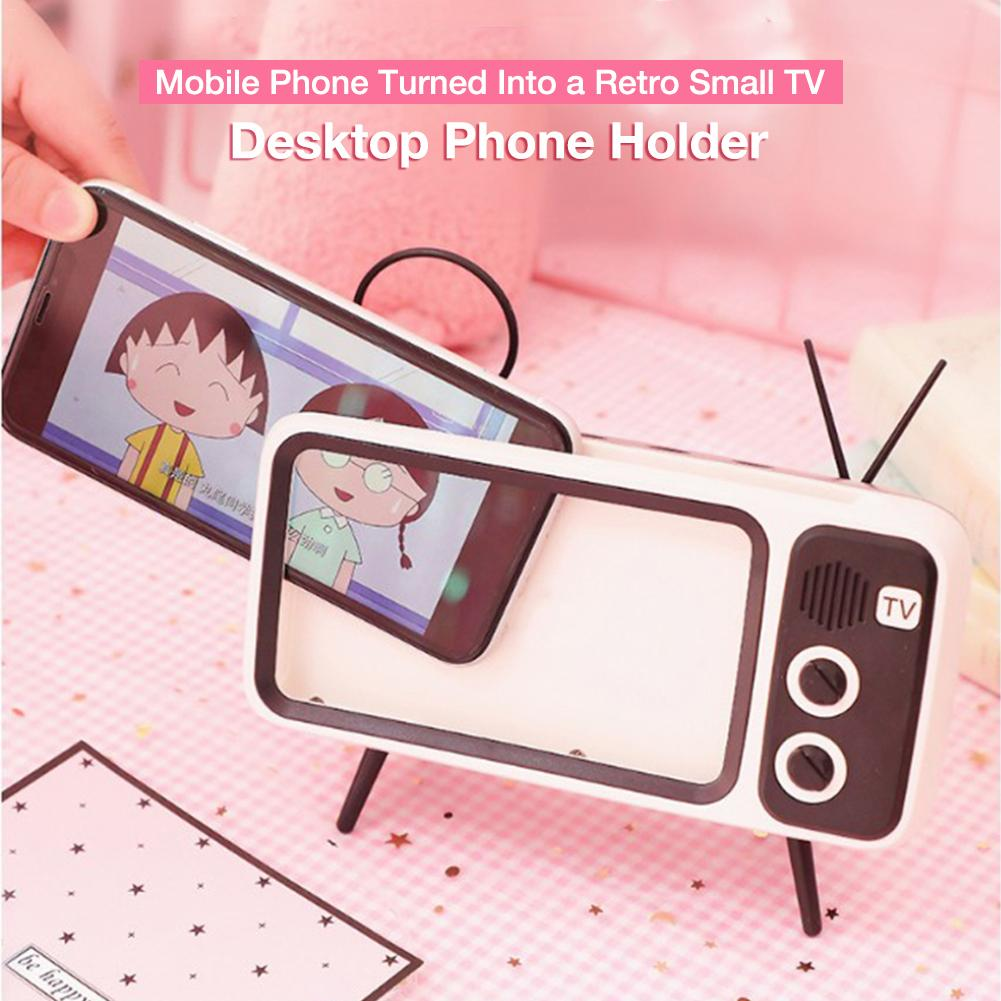 Retro TV Mobile Phone Holder General Table Mobile Phone Stand For Home Without Bluetooth Speaker Vintage Phone Holder
